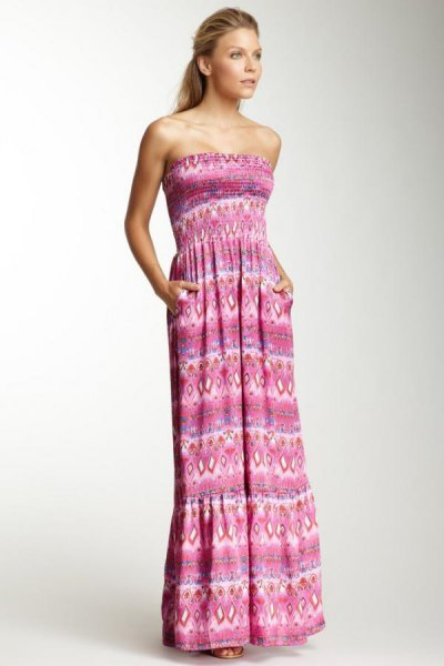 gray tribal printed strapless maxi dress with gathered waist