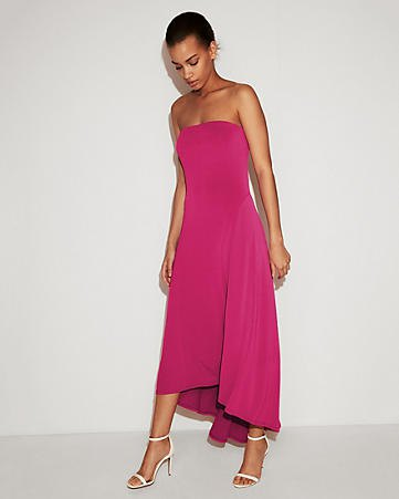 pink strapless high low maxi dress with white open toe heels