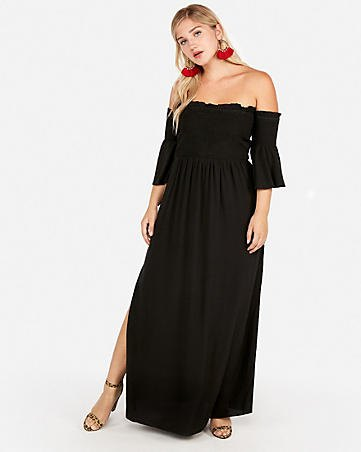 black ruffle sleeves from the off shoulder maxi side slit dress