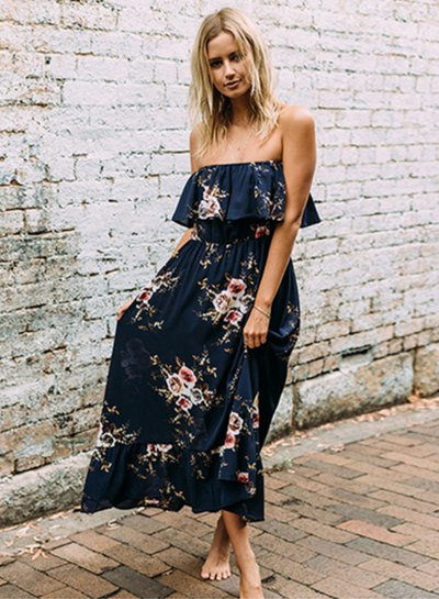 Dark blue maxi dress with frill shoulder and floral pattern