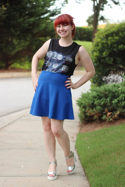 black hidden tank top with royal blue high-rise skater skirt