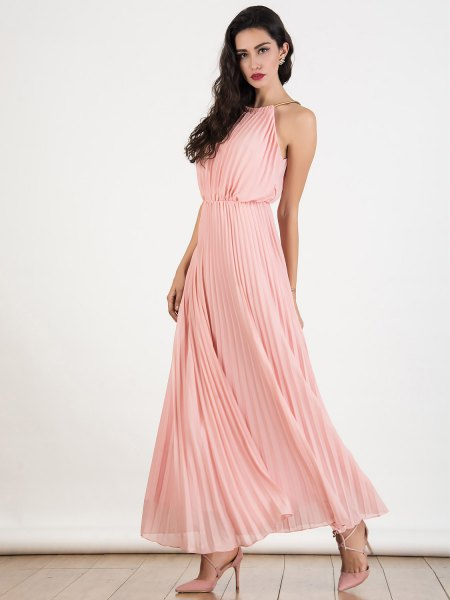Light pink halter fit and flared, pleated chiffon maxi dress