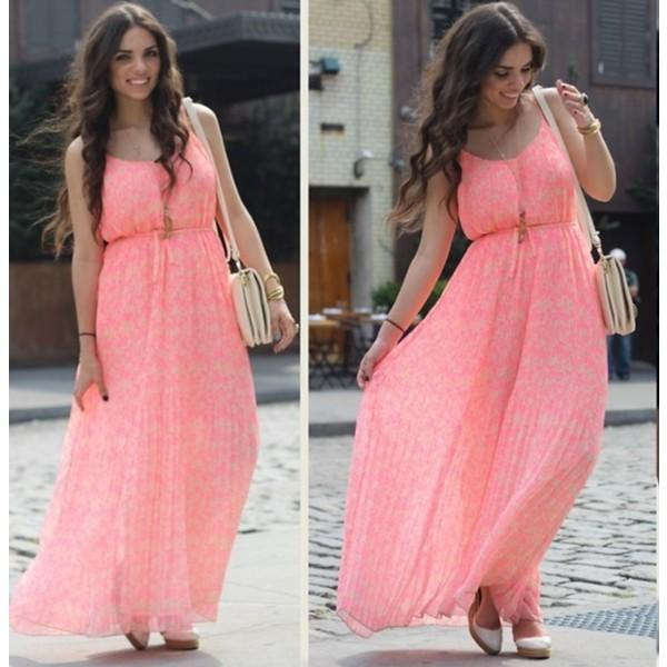 blush pink scoop neck ruched waist maxi lace dress