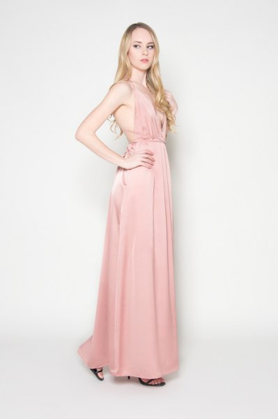 pale pink backless maxi dress with gathered waist