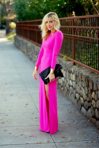 Hot pink long sleeve side slit floor length dress