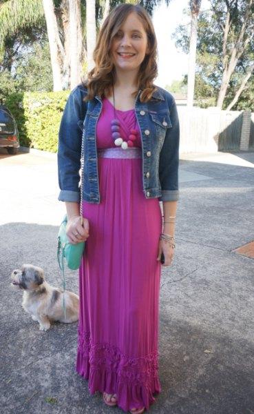 blue denim jacket with pink maxi chiffon dress with belt