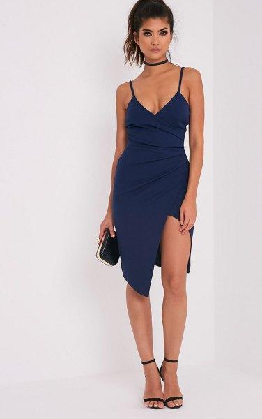 Dark blue spaghetti strap midi dress with front slit