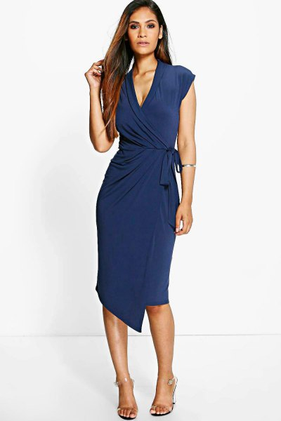 Dark blue cap sleeves with V-neck and midi wrap dress