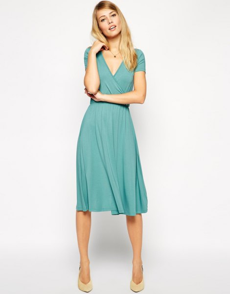 Teal V Neck Fit and Flare Midi Pleated Wrap Dress
