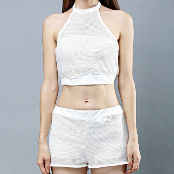 white short halter top with mini mesh shorts