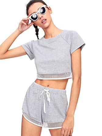 gray short t-shirt with mini mesh cotton shorts