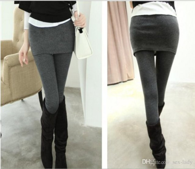 gray rock leggings and black knee-high suede boots