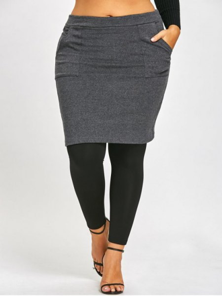 gray and black skirt leggings and short-cut long-sleeved T-shirt