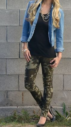 blue denim jacket with black tunic and leggings
