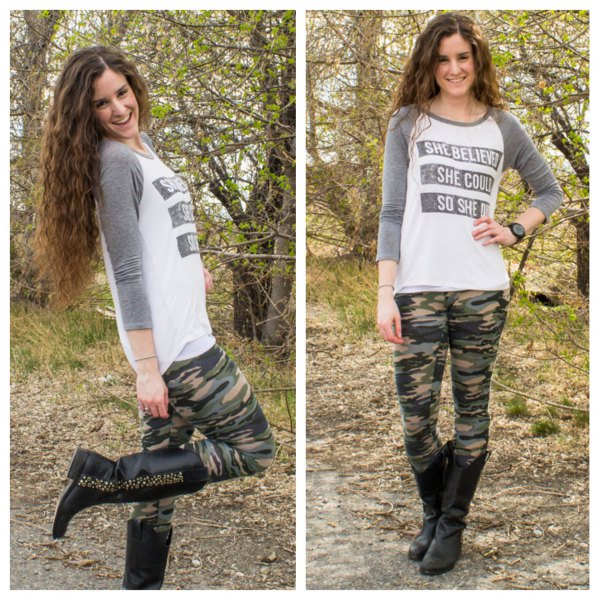 Long-sleeved t-shirt with a gray and white print, camouflage leggings and black leather boots