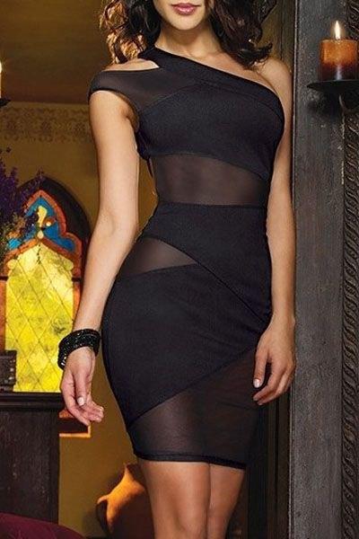 black semi-transparent mini club dress with a shoulder bandage