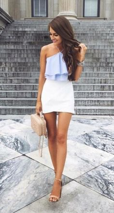 Light blue top with frill halter and white mini skirt