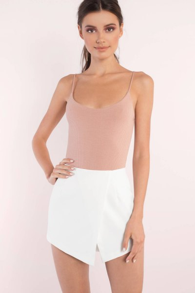 Light pink top with scoop neck and mini skirt