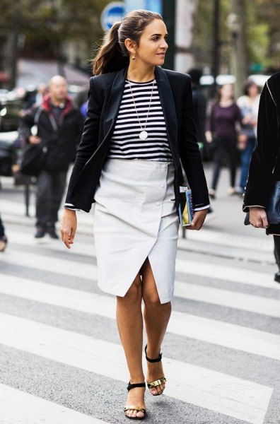black blazer with a striped t-shirt and white midi flared skirt