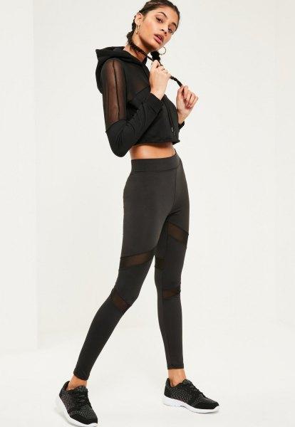 black, short-cut mesh hoodie with matching leggings