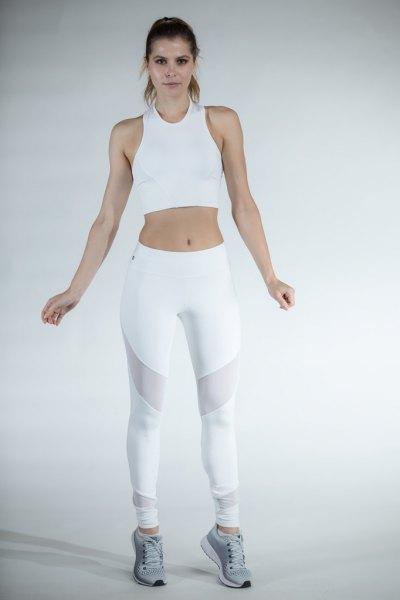 white short tank top with mesh leggings