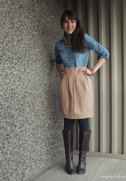 light blue chambray shirt with knee length skirt with pink high waist