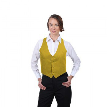 golden short formal vest with white shirt with buttons