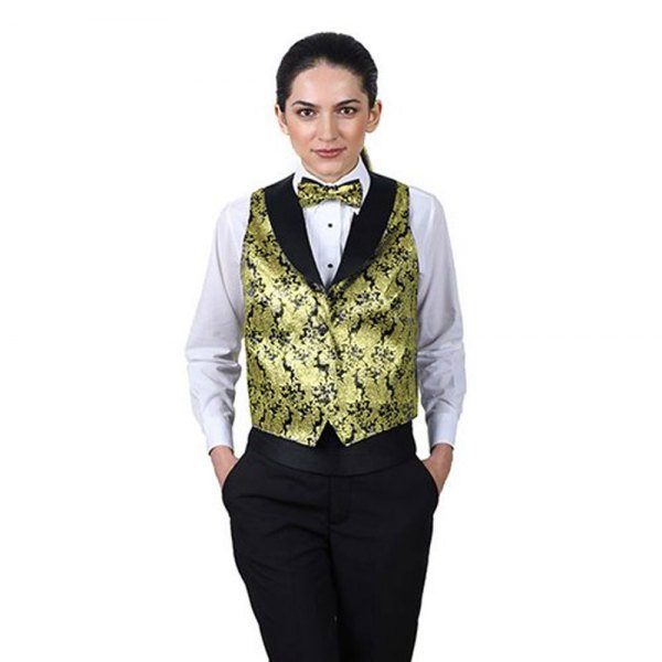 Vest with gold and black printing, matching bow tie and white shirt