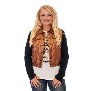 Metal vest with black and white graphic long-sleeved T-shirt