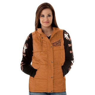 golden vest with black printed t-shirt and blue jeans