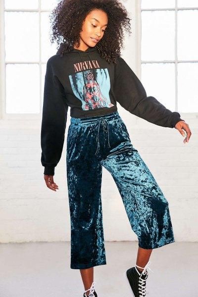 black printed hoodie with dark blue, short pants with wide legs