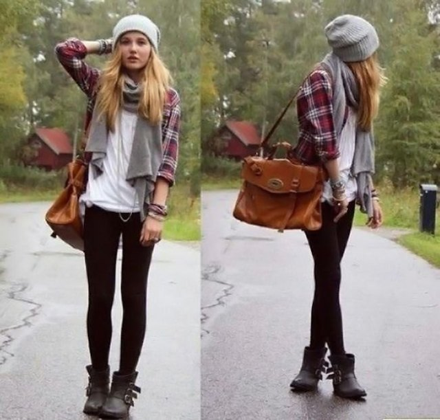 gray and white checked boyfriend shirt as well as black leggings and ankle boots