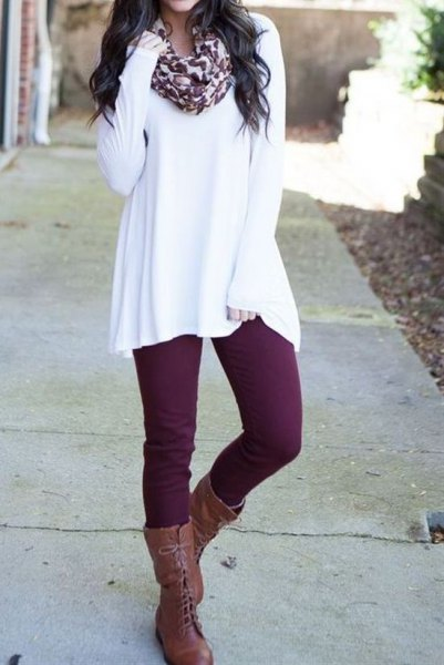 white tunic sweater with scarf with leopard print and gray laced boots
