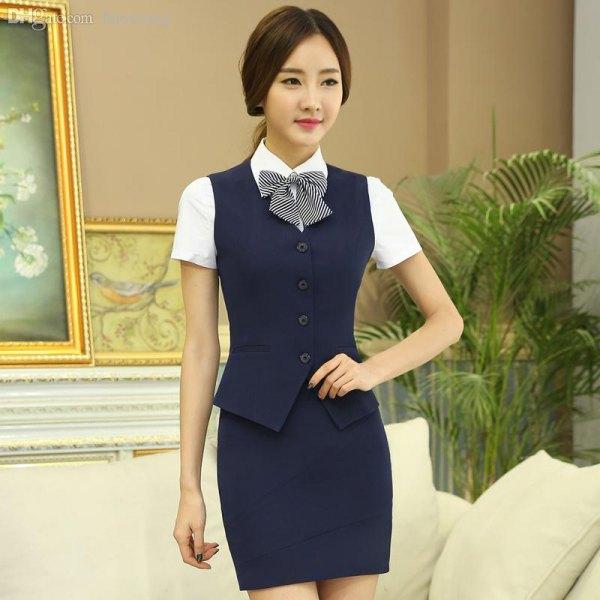 Dark blue, slim fit suit vest with pencil skirt