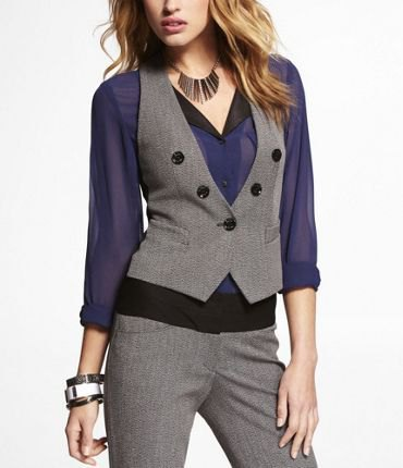 Navy blue chiffon blouse with gray, slim cut short vest