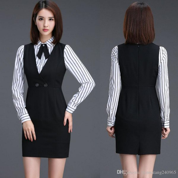 black mini dress with ruffled waist and striped shirt with buttons
