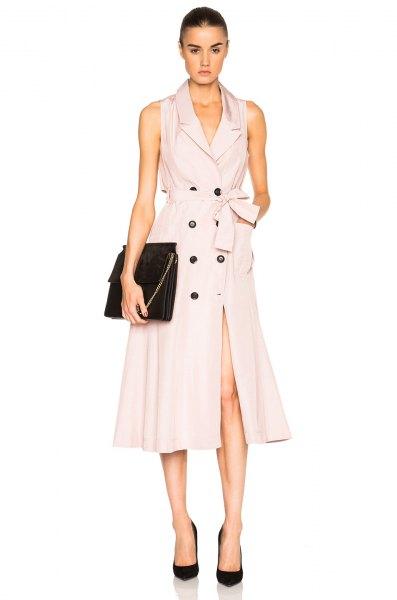 light pink midi flared waistcoat