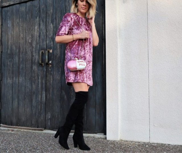 blush pink velvet shirt dress with over the knee boots