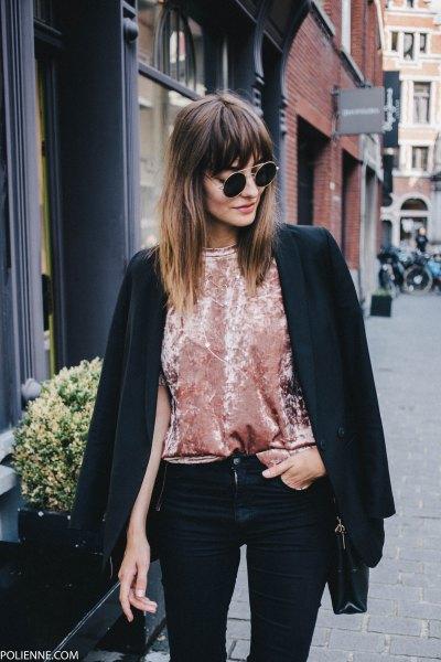 Blush pink velvet shirt with black blazer