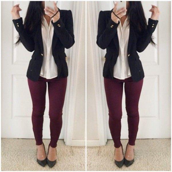 black blazer with white shirt and burgundy leggings