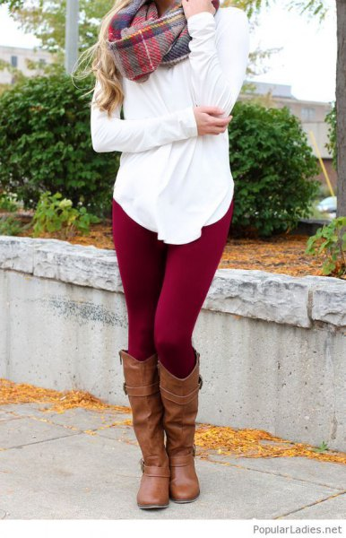 white blouse with checkered cashmere scarf and dark red leggings