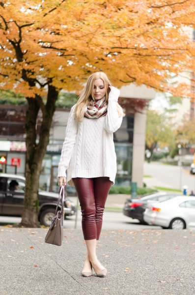 white, rough knitted sweater with scarf and burgundy leggings