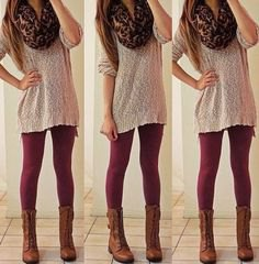 light gray oversized crochet sweater with leopard print scarf and boots in the middle of the calf