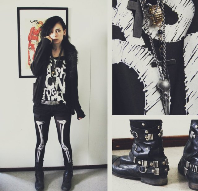 black leather jacket with graphic tunic t-shirt and skeleton leggings
