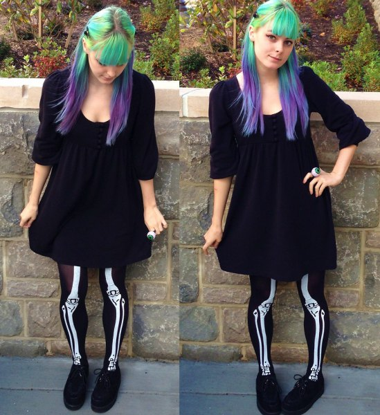 black shift dress with scoop neck and skeleton leggings