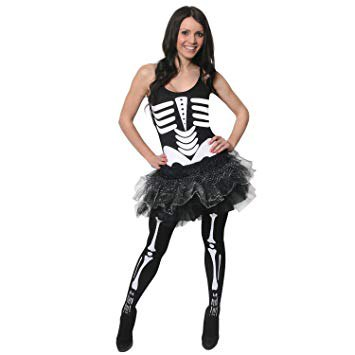 graphic black and white skeleton tank top with tulle mini skirt