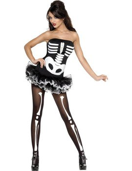 black and white tube top with skeleton gaiters