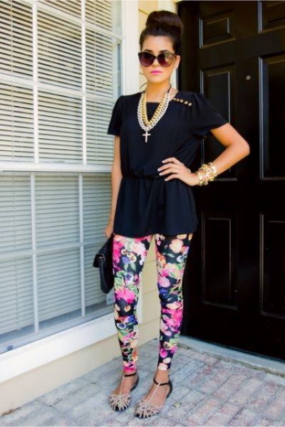 black t-shirt with dark blue floral leggings