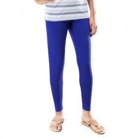 gray and white striped t-shirt with blue leggings