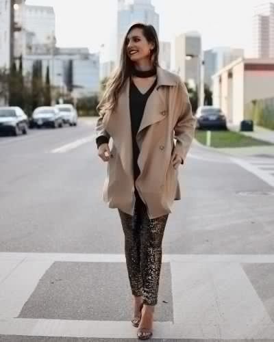 blushing pink longline trench coat with tights with leopard print